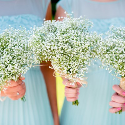 Three gypsophilia bouquets