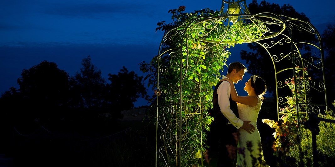 Wedding couple back lit beneath rose arbour