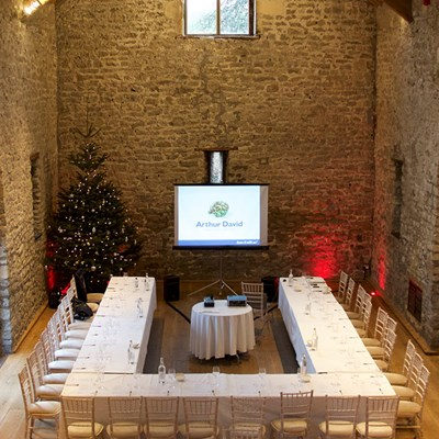 Conference set up at Christmas with one U-shaped table