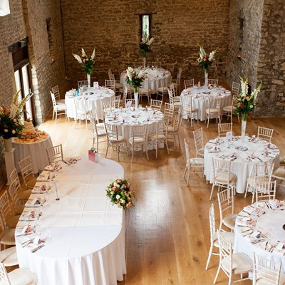 Reception set up showing oval top table