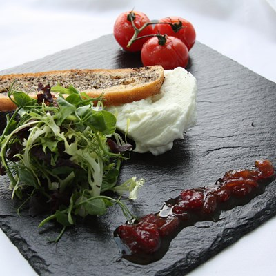 Mozarella starter served on slate