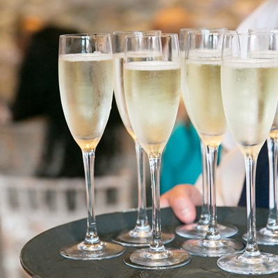 Sparkling wine served on trays