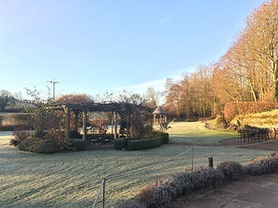 beautiful frosty morning at Priston Mill gardens