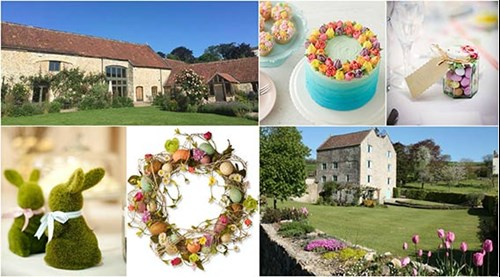 collage of Easter images at Priston Mill