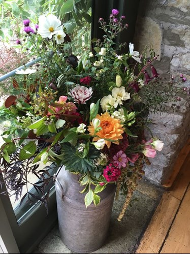 Autumn milk churn with bright dahlias, cosmos daisies and lush foliages.
