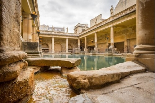 The historic Roman Baths in the city of Bath