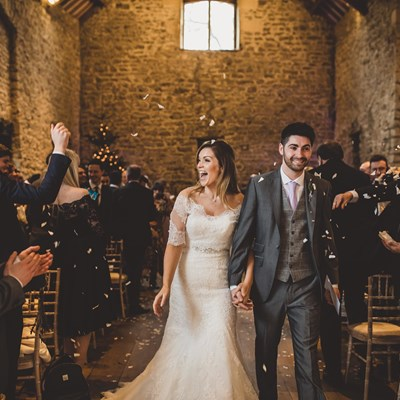 Bride and Groom just married at Priston Mill wedding venue in Bath
