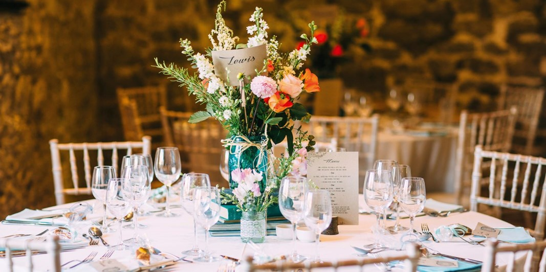 Table decor in The Tythe Barn wedding venue in Bath