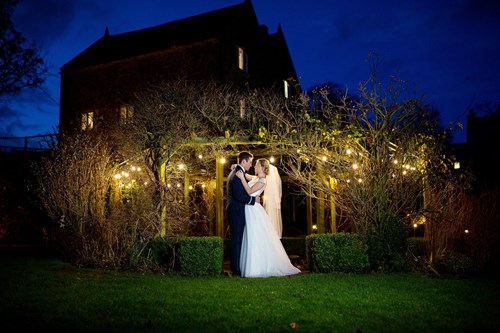 Night time photo of Bride and Groom
