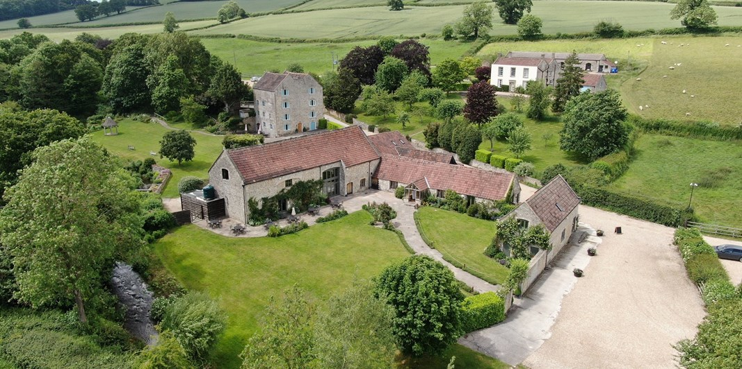 Aerial view of wedding venues in Bath - Priston Mill