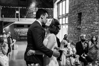 Bride and Groom kiss after being married at Priston Mill